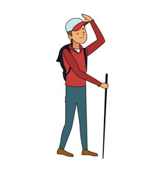 trekking person icon image vector image