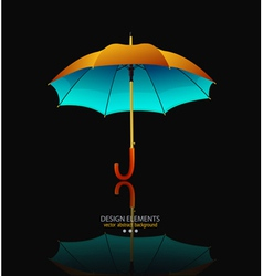 Umbrella with reflection on black background vector