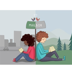 Multicultural girl and boy read mail vector