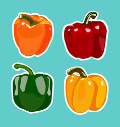 set of flat cartoon peppers stickers vector image