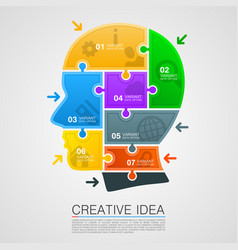 head of puzzles info vector image
