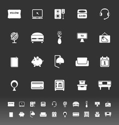 Bedroom icons on gray background vector
