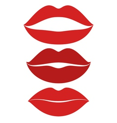 Human lips kiss icon set vector