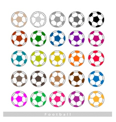 Set of multi-colored footballs or soccer balls vector