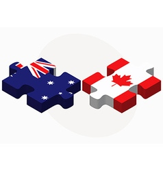 Australia and canada flags in puzzle vector