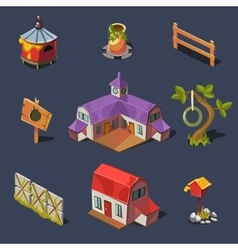 Farm Big Set of Design Elements in Modern Flat vector image
