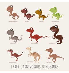 Set of early carnivorous dinosaurs  eps10 vector