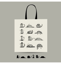 Shopping bag with cats for your design vector
