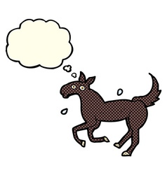 Cartoon horse sweating with thought bubble vector