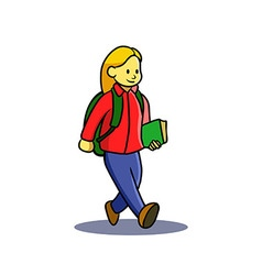 Girl teen go to school vector