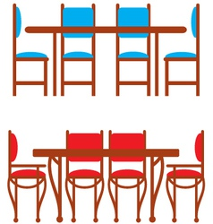 Set of dining tables and chairs vector image