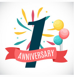 Anniversary 1 years template with ribbon vector