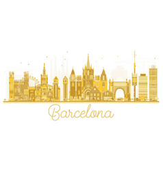 Barcelona spain city skyline golden silhouette vector