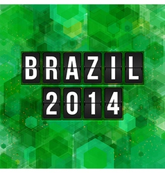 Brazil 2014 football poster hexagon background vector