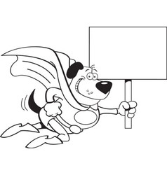 Cartoon Superhero Dog with a Sign vector image vector image