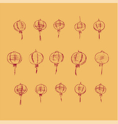chinese lamps pattern hand drawn sketch vector image vector image