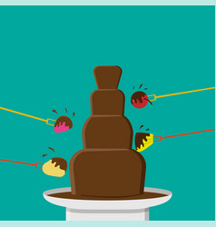 Chocolate fondue party in flat style vector