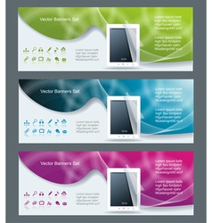 Collection banner design tablet pc computer vector image vector image