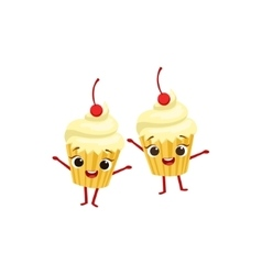 Cupcakes with cherry on top kids birthday party vector