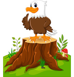 cute eagle cartoon on tree stump vector image vector image