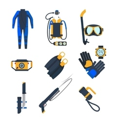 Diving equipment icons in flat style vector