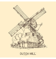 Dutch mill vector
