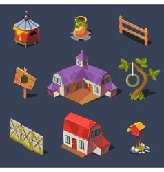 Farm Big Set of Design Elements in Modern Flat vector image
