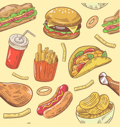Fast food hand drawn seamless pattern with burger vector