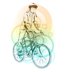 girl on the bicycle on the background vector image