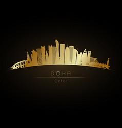 golden doha skyline vector image vector image