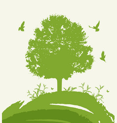 green tree and birds vector image vector image