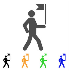 guide man with flag icon vector image
