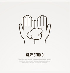 Hands holding clay pottery vector