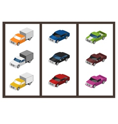 isometric car set vector image vector image