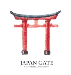 Japan gate isolated on white torii gate japanese vector image
