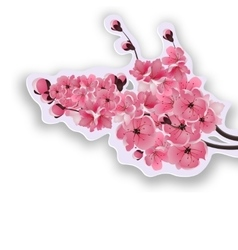 Japanese cherry lush branches dark pink cherry vector