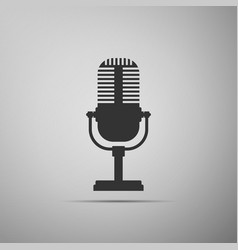 Microphone icon isolated on grey background vector