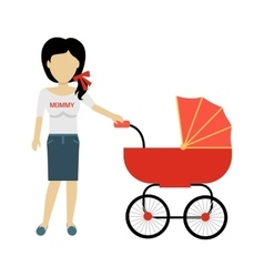 Mother with a baby carriage banner vector
