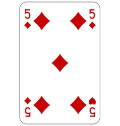 Poker playing card 5 diamond vector