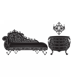 Rich baroque furniture set collection vector