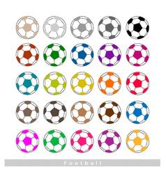 Set of multi-colored footballs or soccer balls vector