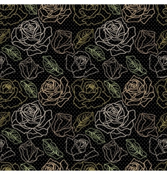 Set of roses on black vector image vector image