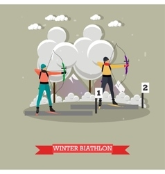Sport shooting banner archery biathlon vector