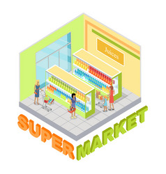supermarket juices department isometric vector image