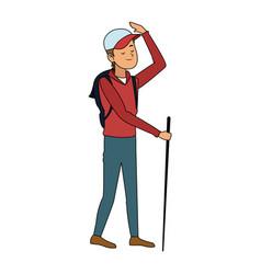 trekking person icon image vector image