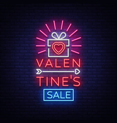 valentine day sale neon sign vector image