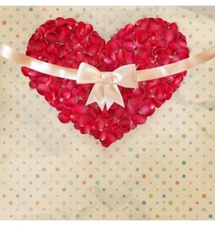 Valentines day card with a petals EPS 10 vector image vector image