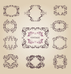 Vintage old empty frames and banners vector
