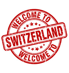 Welcome to switzerland red round vintage stamp vector