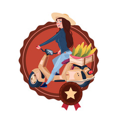 woman deliver eco food from farm riding retro vector image